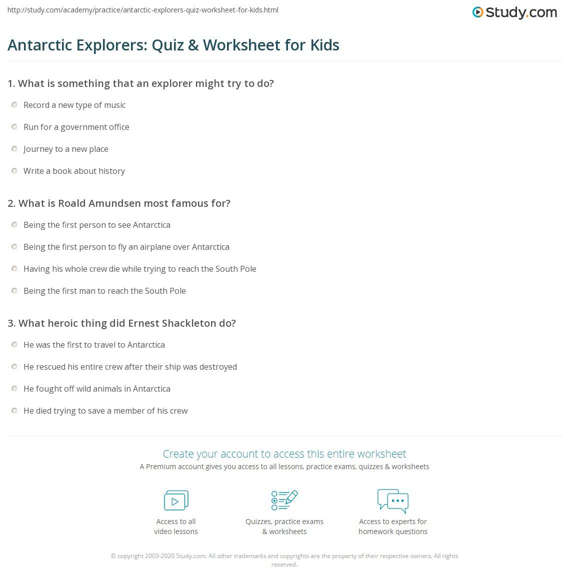 Antarctic Explorers Quiz Amp Worksheet For Kids