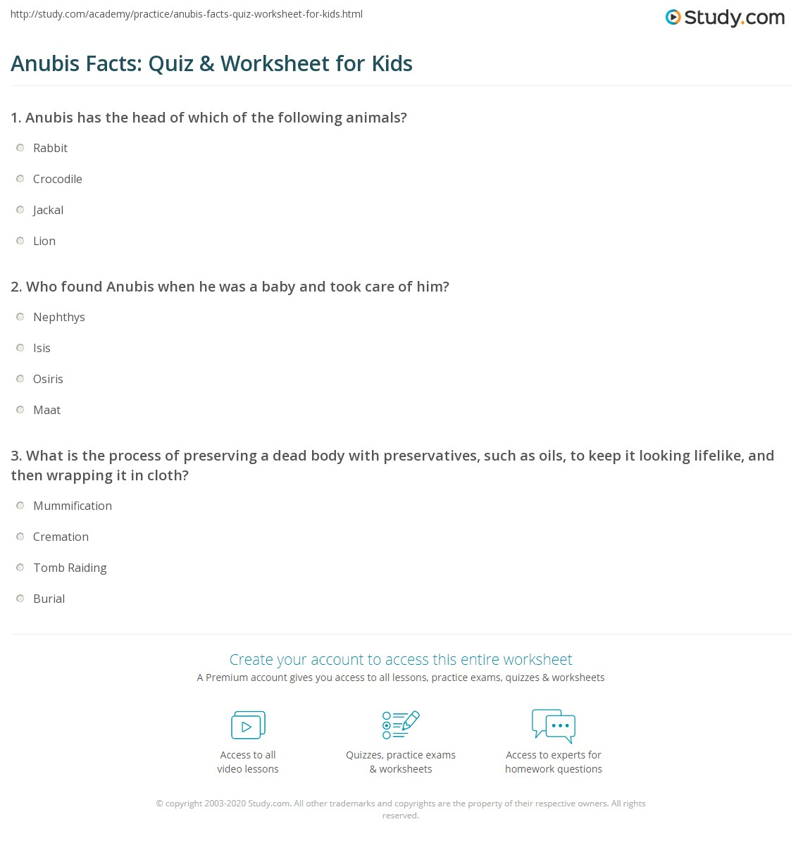 Anubis Facts Quiz Amp Worksheet For Kids