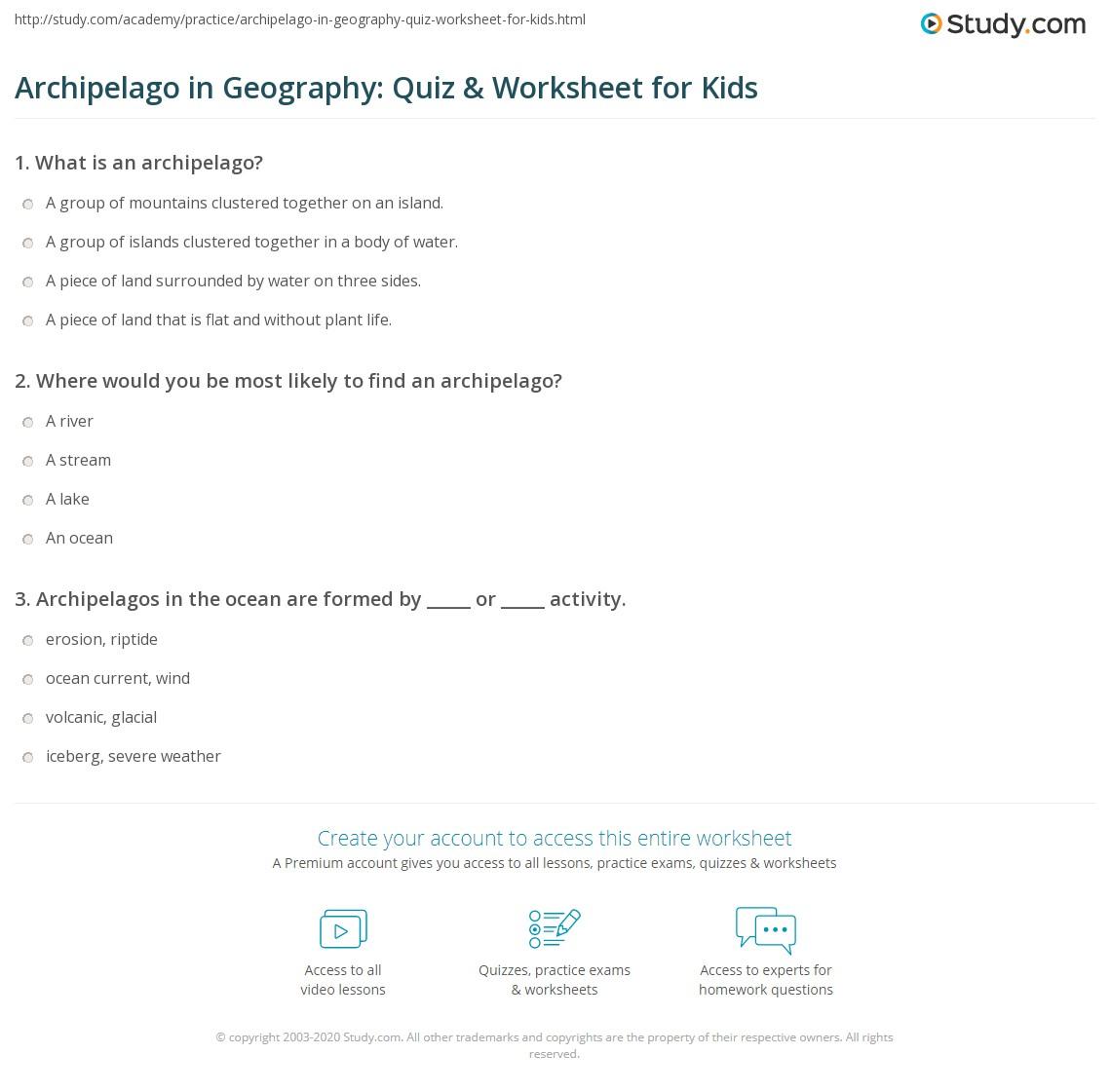 Archipelago In Geography Quiz Amp Worksheet For Kids
