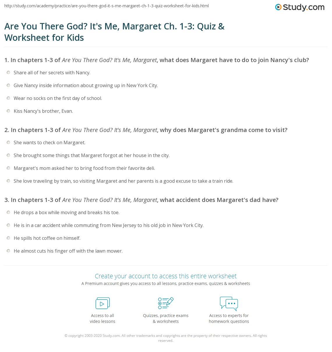 Are You There God It S Me Margaret Ch 1 3 Quiz Amp Worksheet For Kids