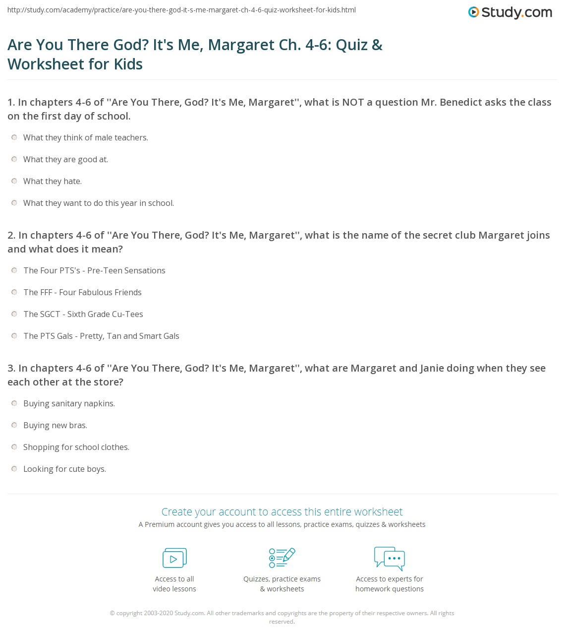 Are You There God It S Me Margaret Ch 4 6 Quiz Amp Worksheet For Kids