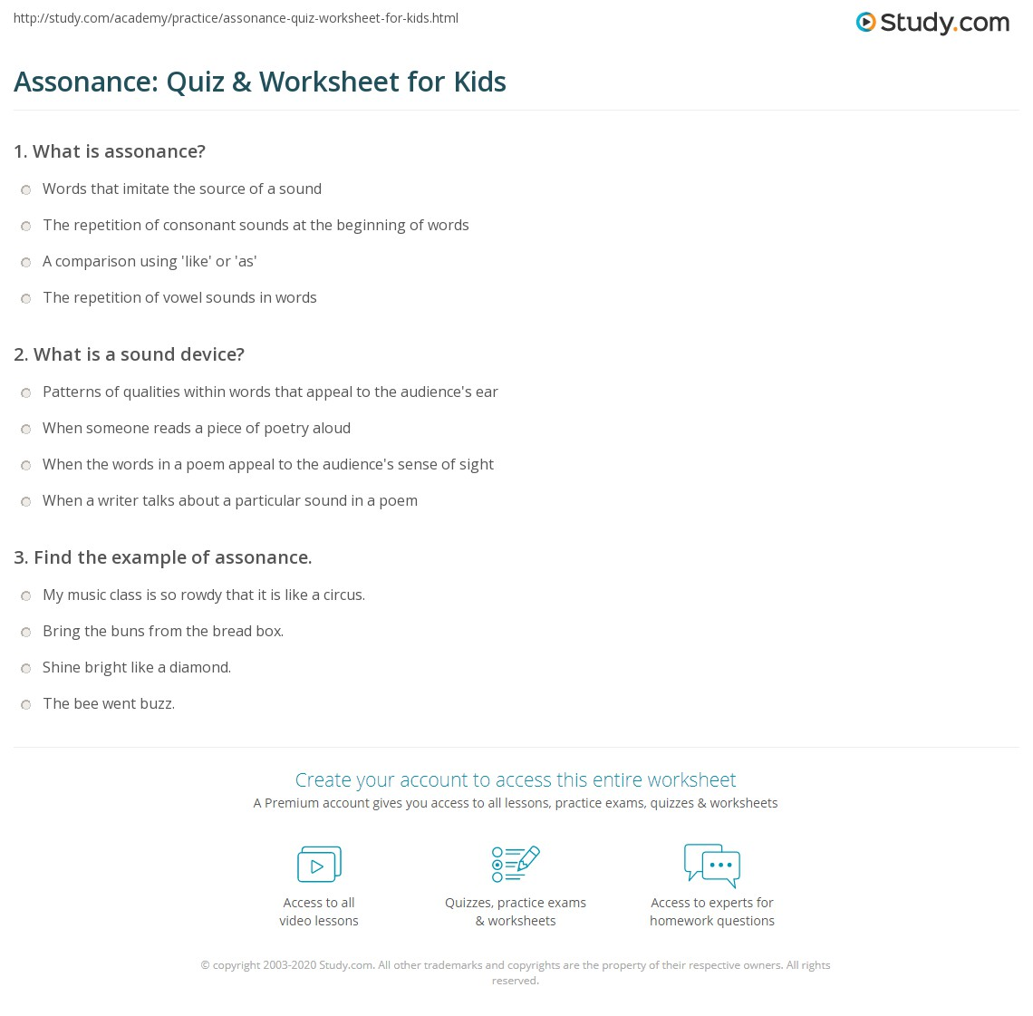 Assonance Quiz Amp Worksheet For Kids