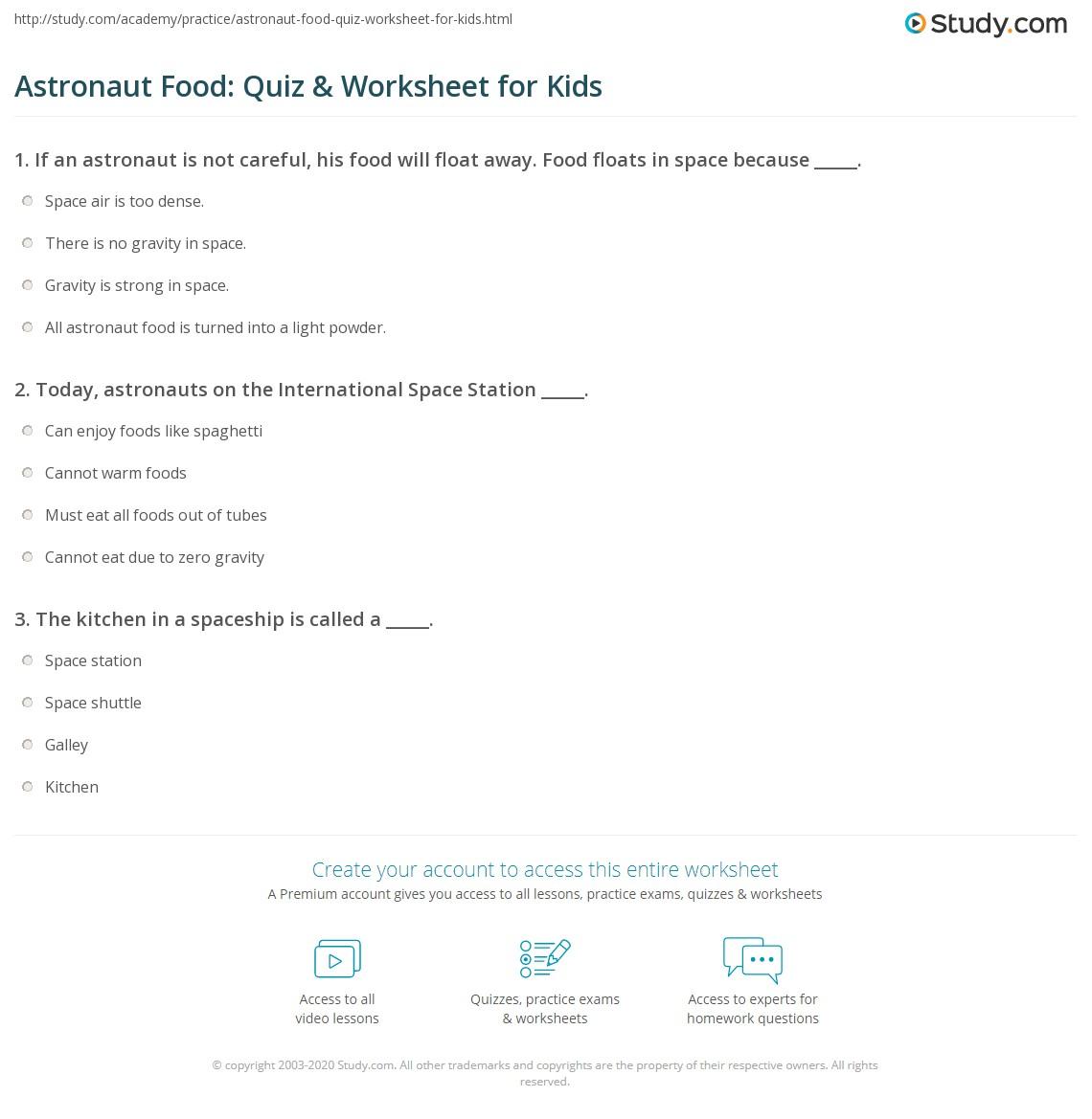 Astronaut Food Quiz Amp Worksheet For Kids