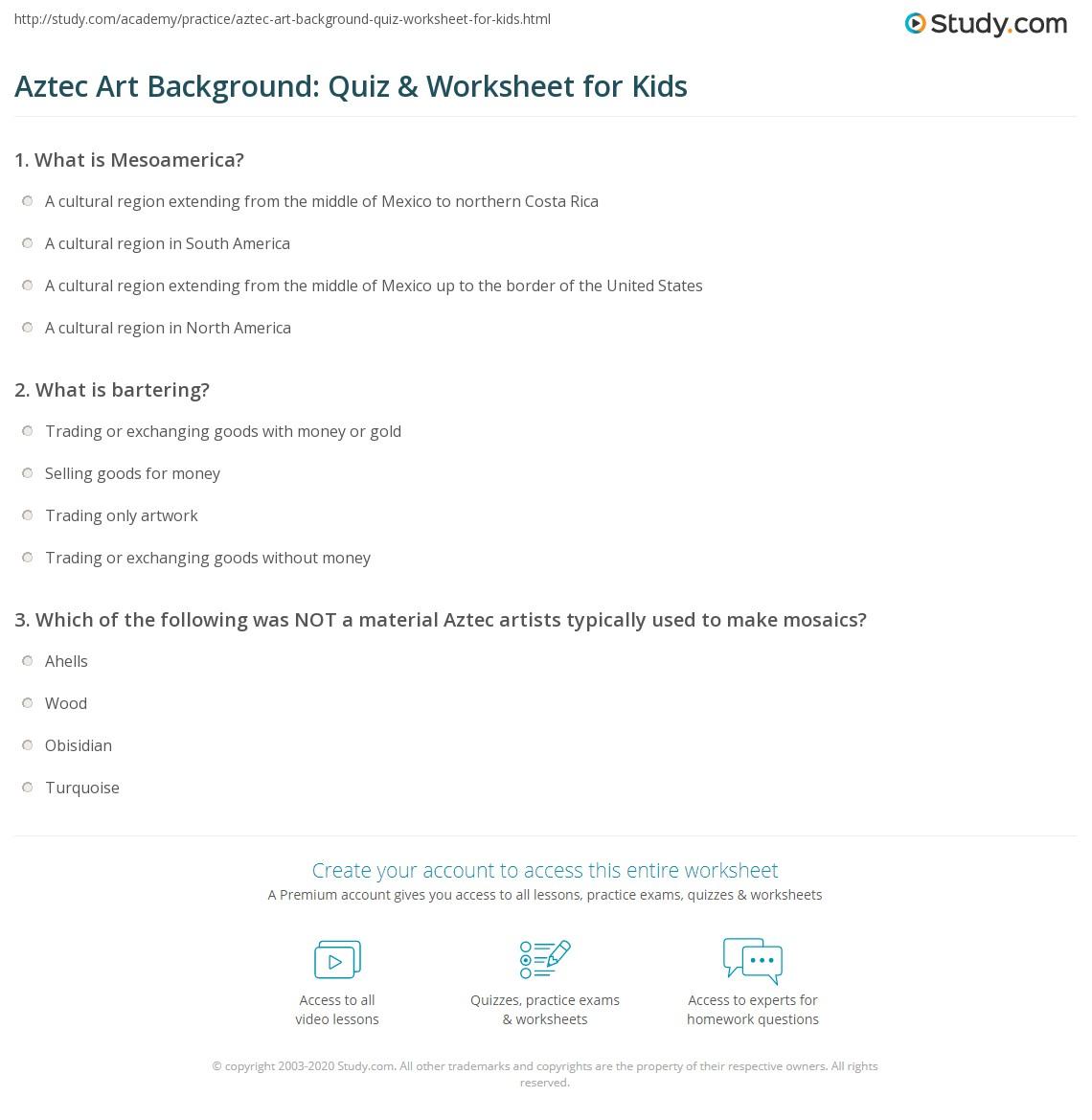 Aztec Art Background Quiz Amp Worksheet For Kids