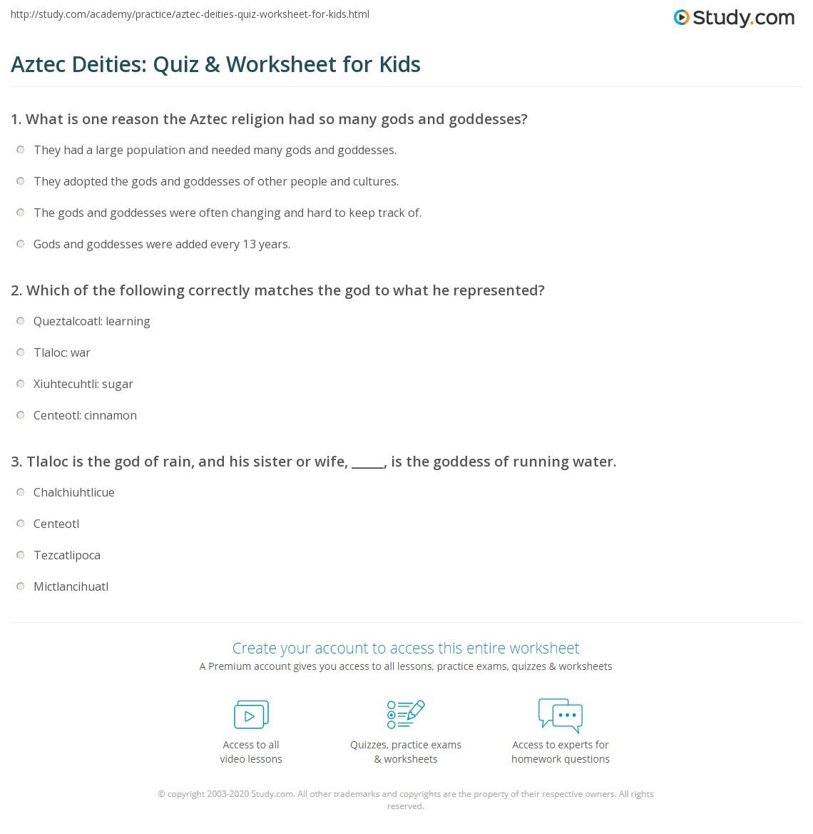 Aztec Deities Quiz Amp Worksheet For Kids