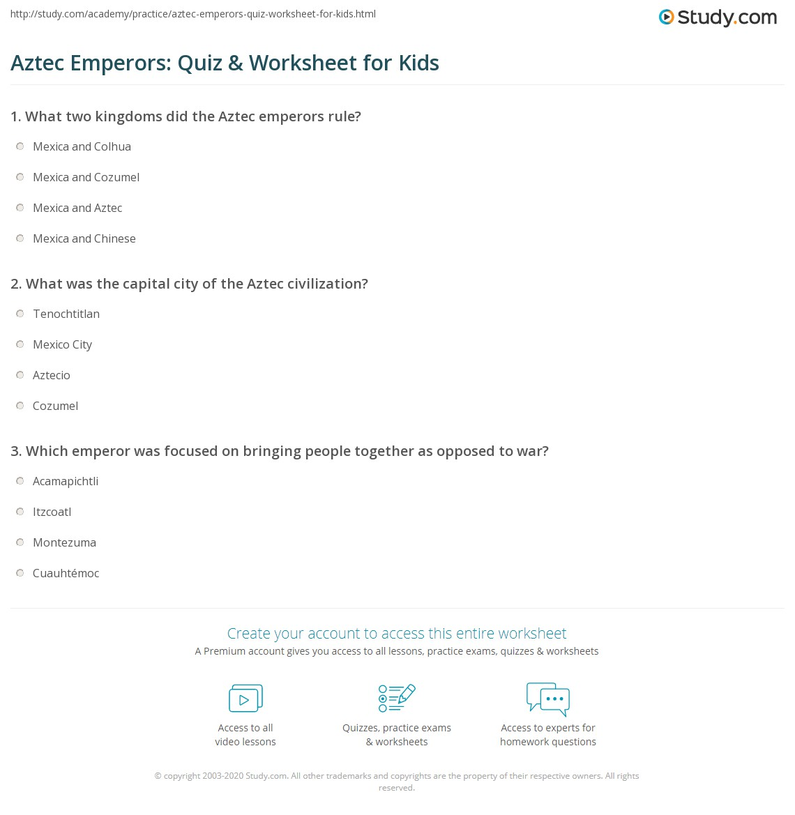 Aztec Emperors Quiz Amp Worksheet For Kids