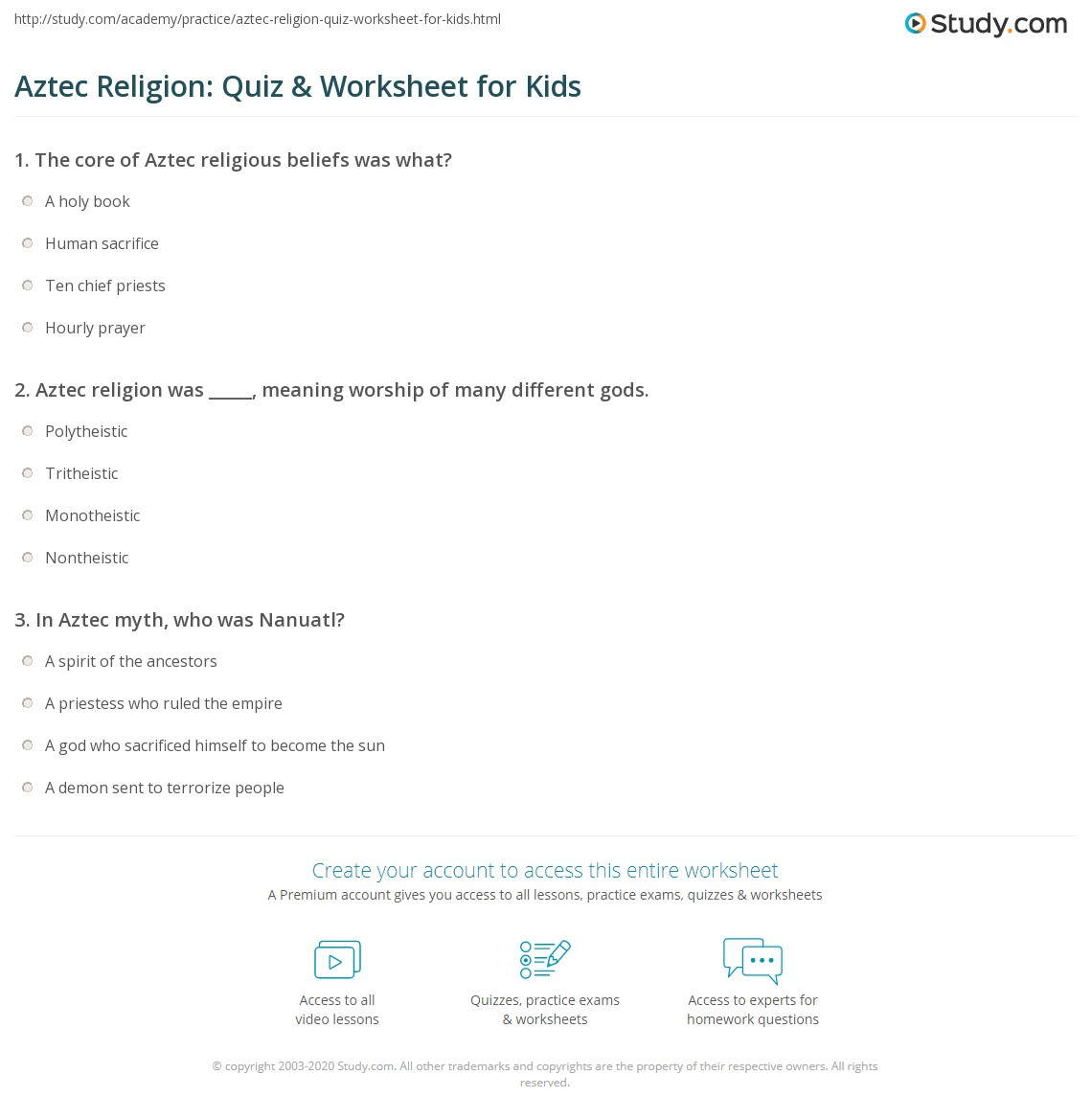 Aztec Religion Quiz Amp Worksheet For Kids
