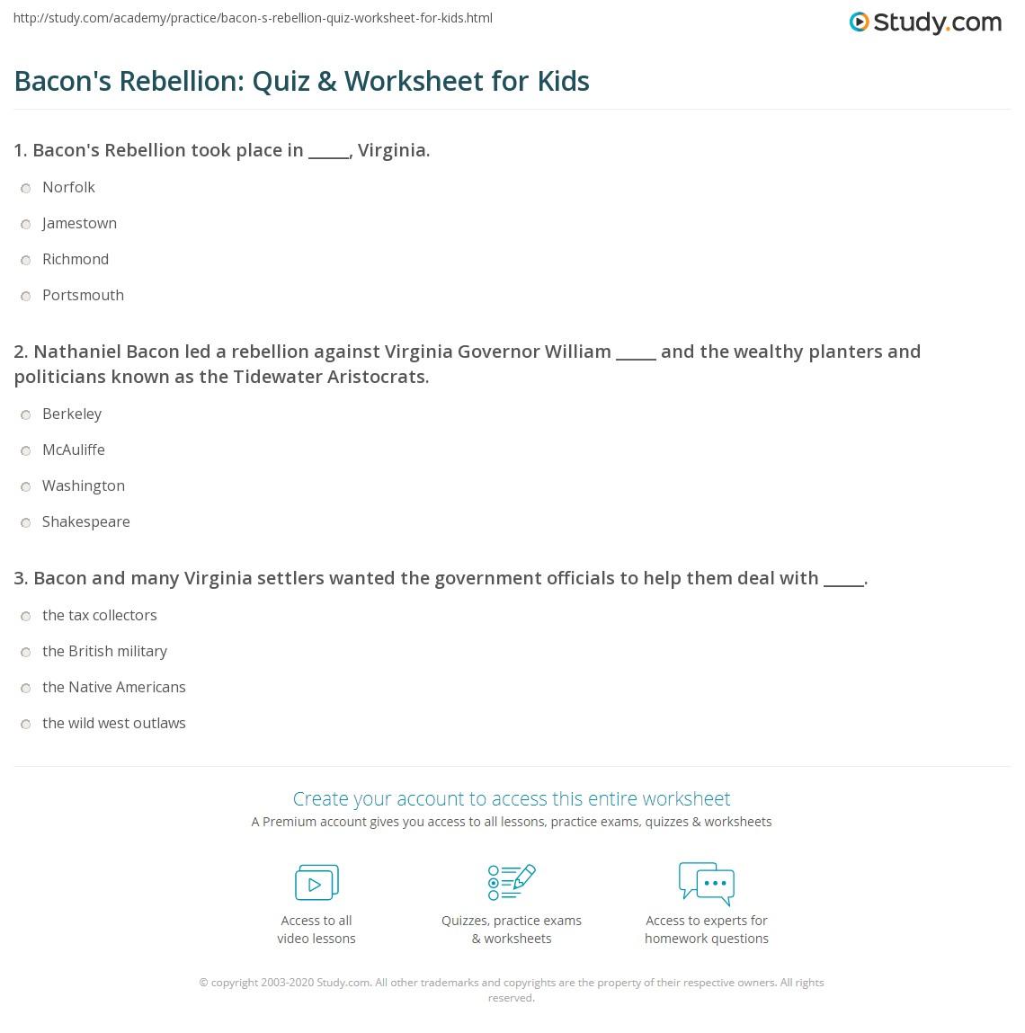 Bacon S Rebellion Quiz Amp Worksheet For Kids