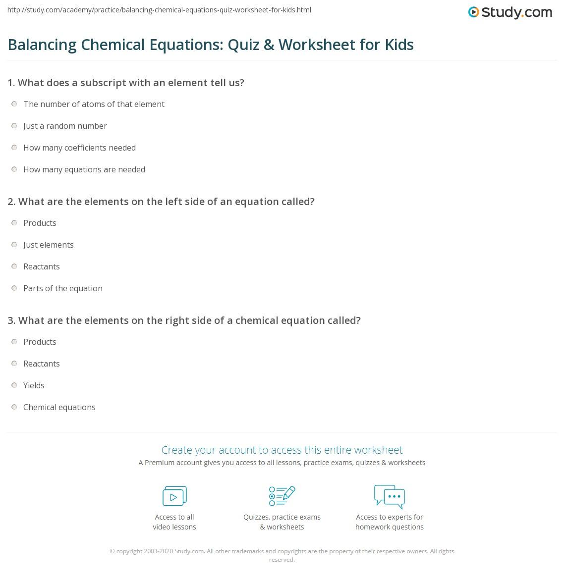 Balancing Chemical Equations Quiz Amp Worksheet For Kids
