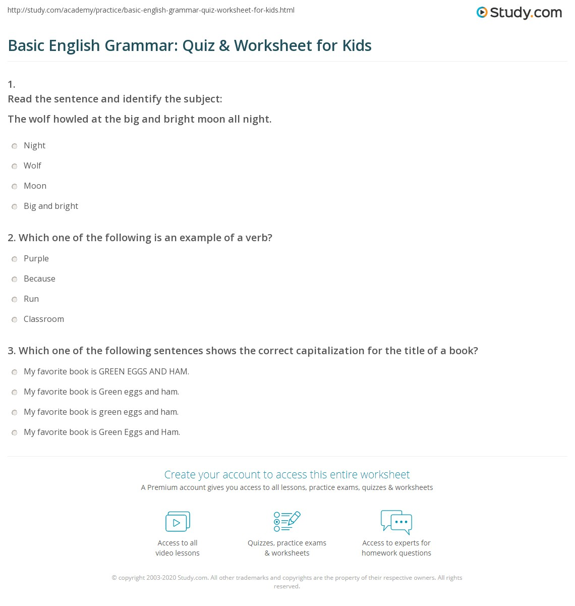 Basic English Grammar Quiz Amp Worksheet For Kids