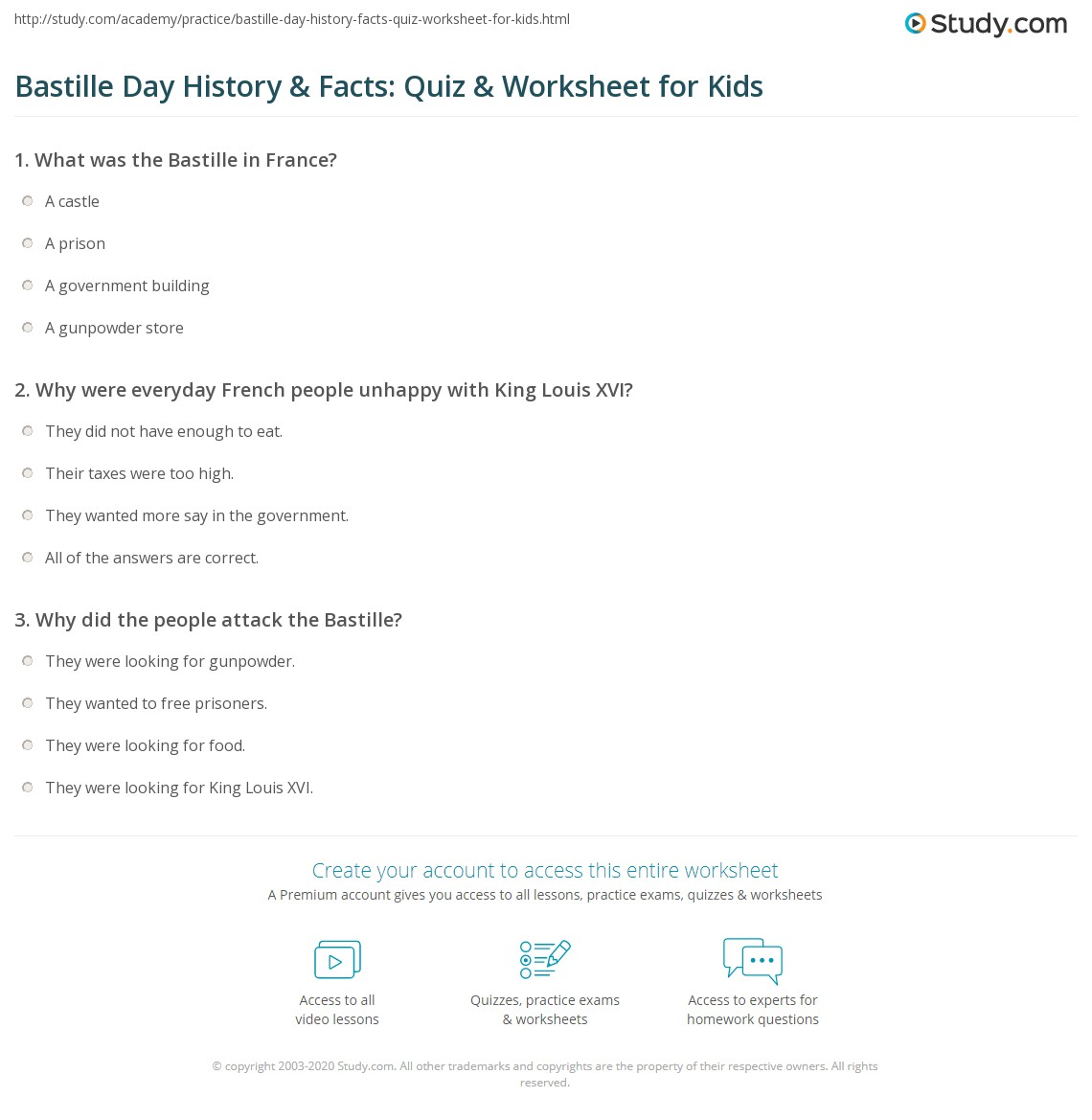 Bastille Day History Amp Facts Quiz Amp Worksheet For Kids