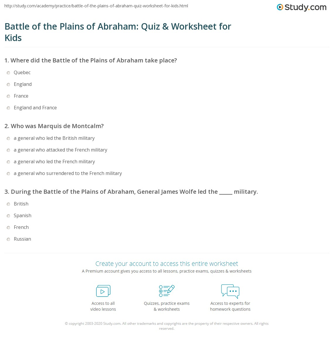 Battle Of The Plains Of Abraham Quiz Amp Worksheet For Kids