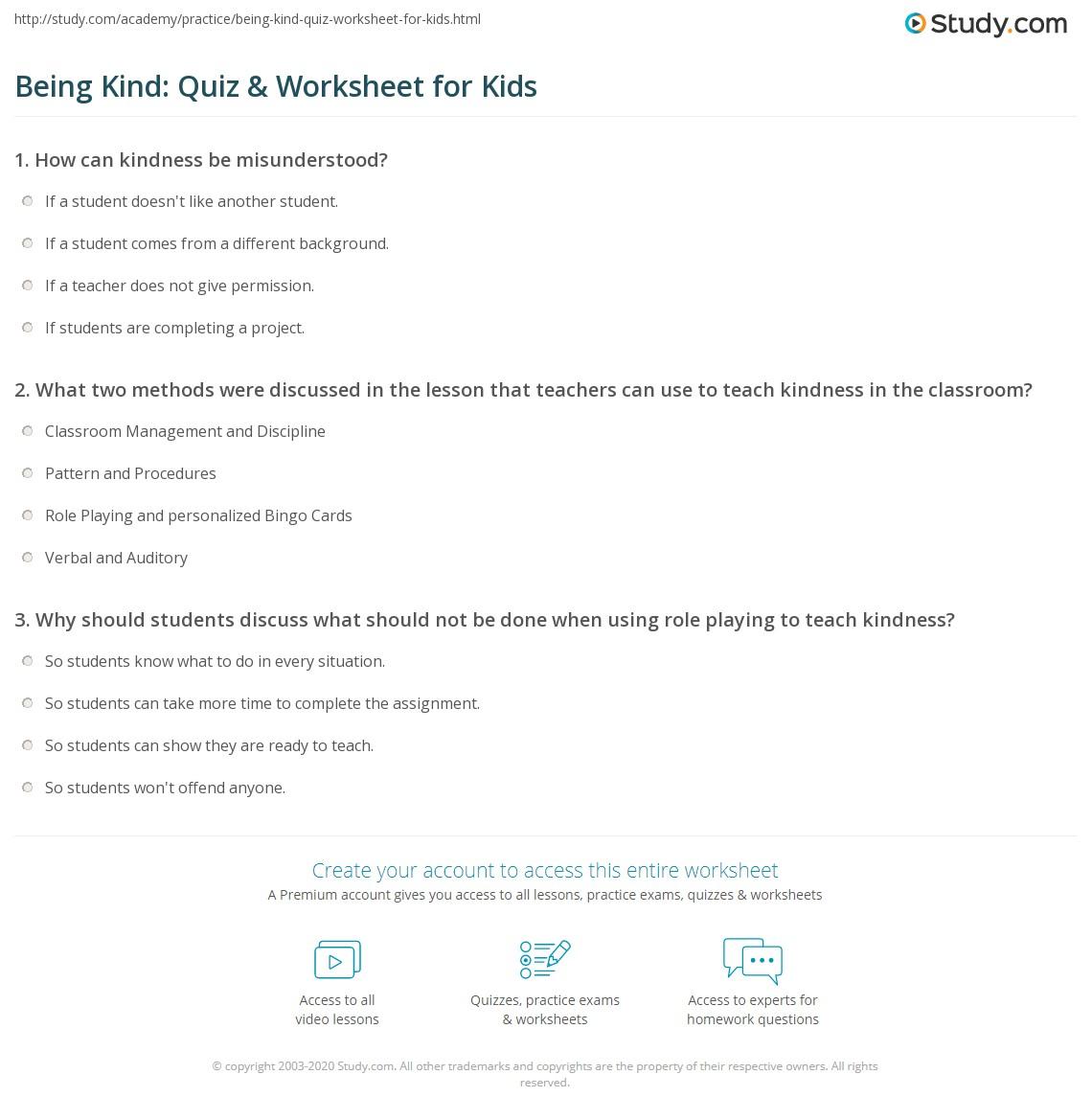 Being Kind Quiz Amp Worksheet For Kids