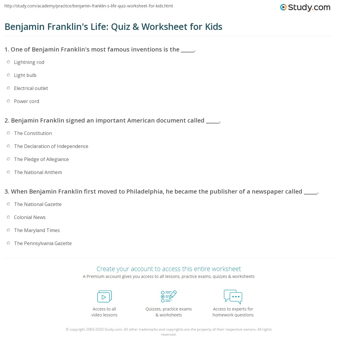 Benjamin Franklin Worksheet For First Grade