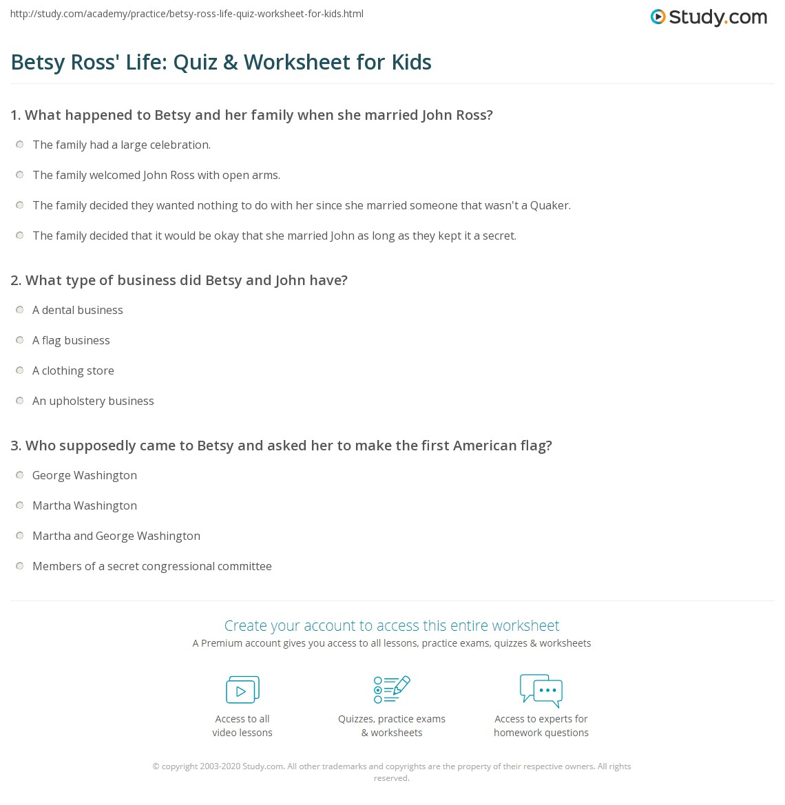 Betsy Ross Life Quiz Amp Worksheet For Kids