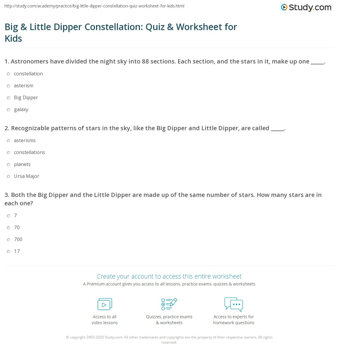 Big Amp Little Dipper Constellation Quiz Amp Worksheet For