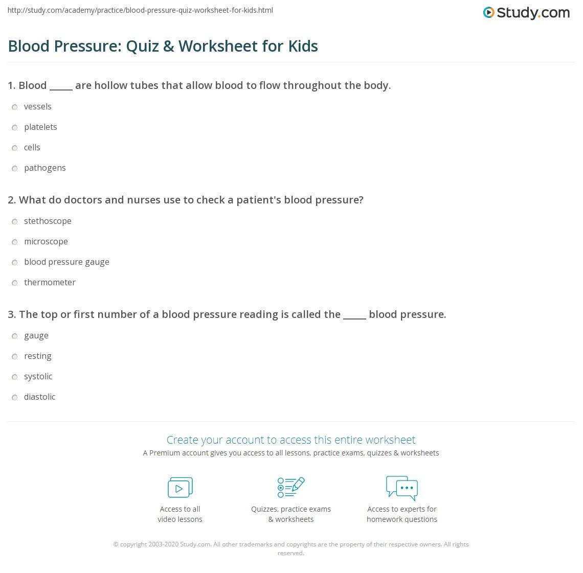 Blood Pressure Quiz Amp Worksheet For Kids
