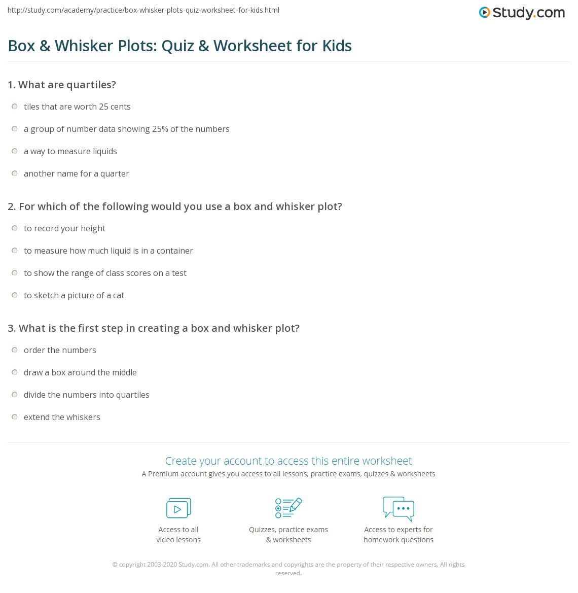 Box Amp Whisker Plots Quiz Amp Worksheet For Kids