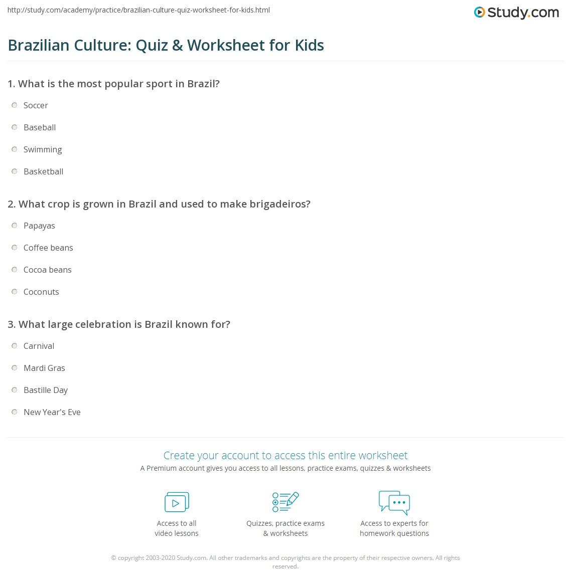 Brazilian Culture Quiz Amp Worksheet For Kids