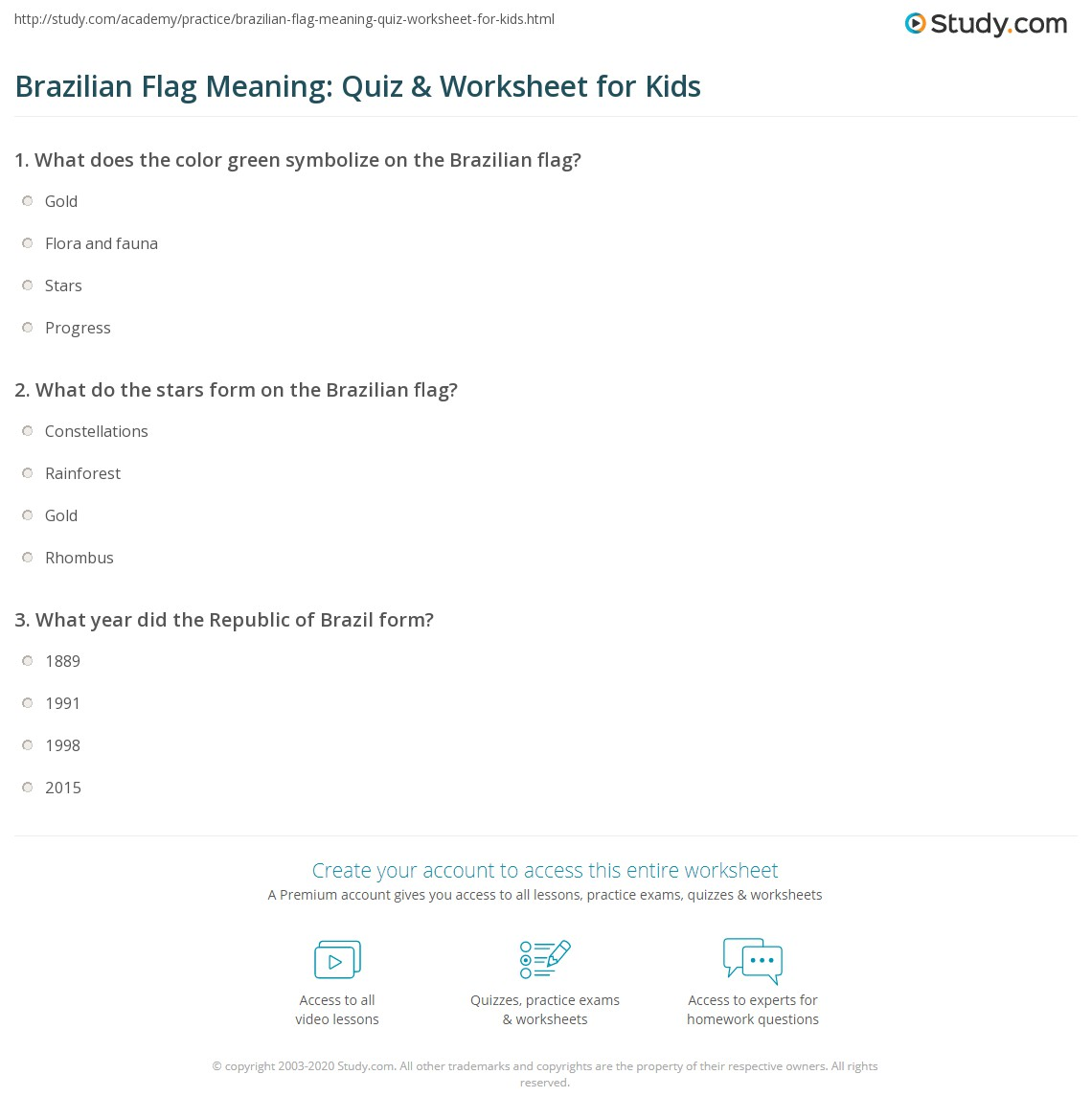 Brazilian Flag Meaning Quiz Amp Worksheet For Kids