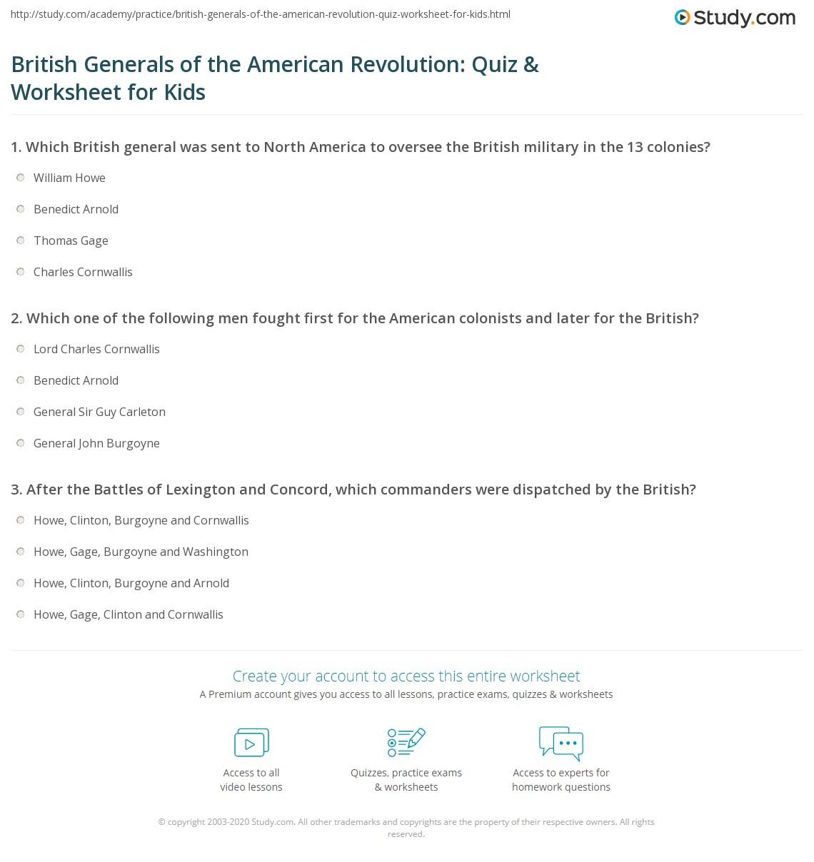 British Generals Of The American Revolution Quiz