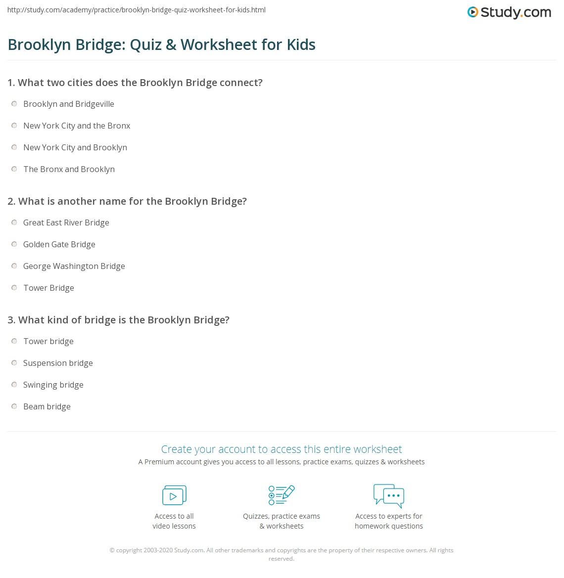 Brooklyn Bridge Quiz Amp Worksheet For Kids