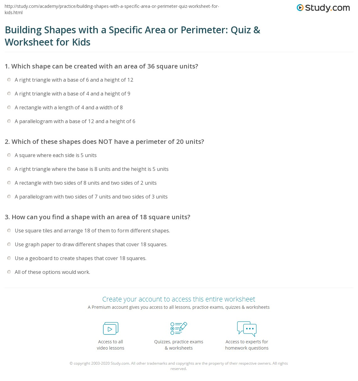 Building Shapes With A Specific Area Or Perimeter Quiz