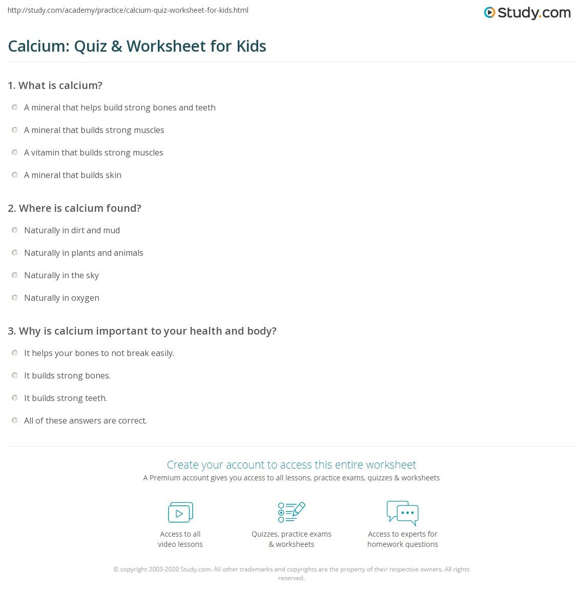 Calcium Quiz Amp Worksheet For Kids