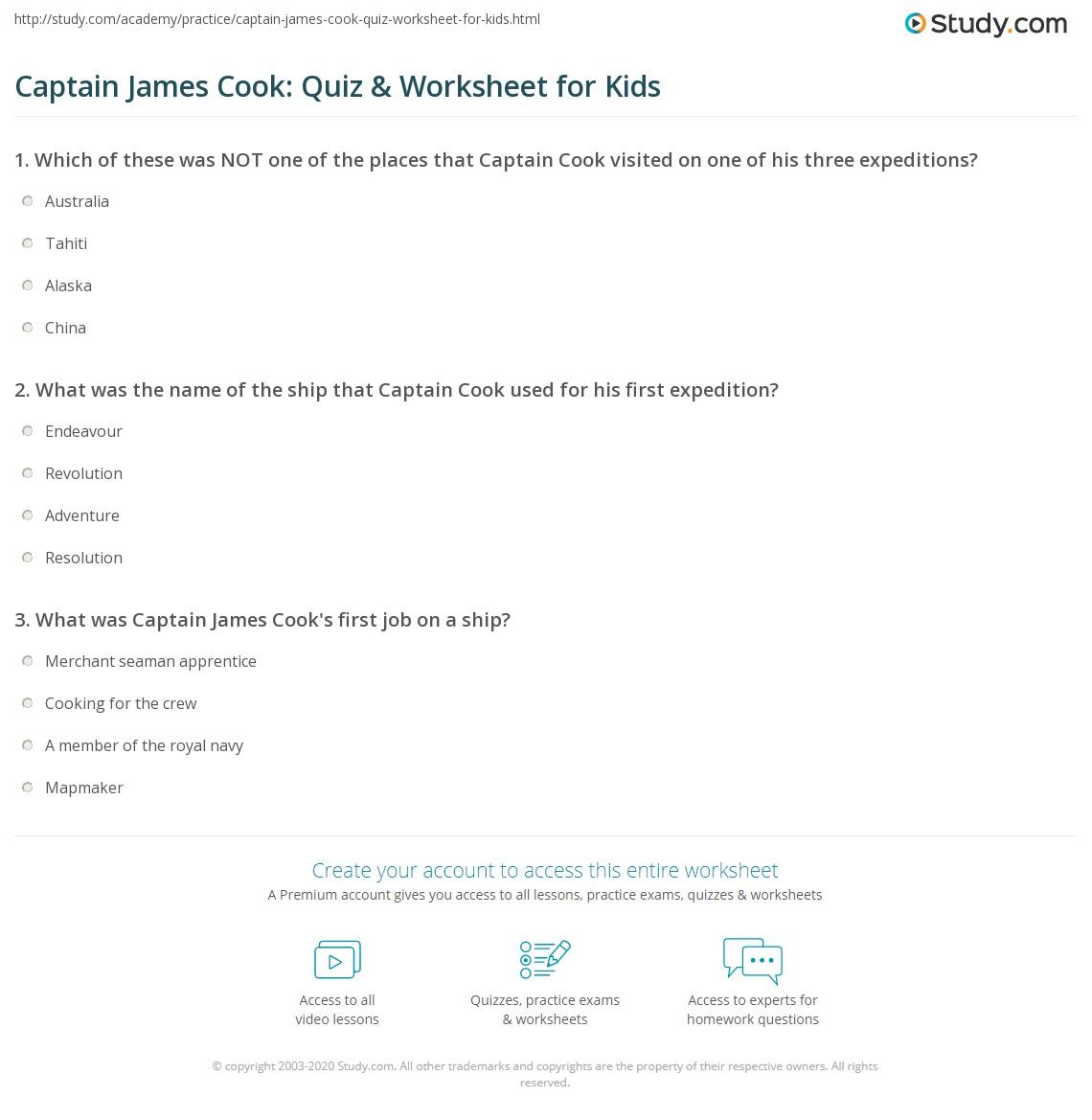 Captain James Cook Quiz Amp Worksheet For Kids