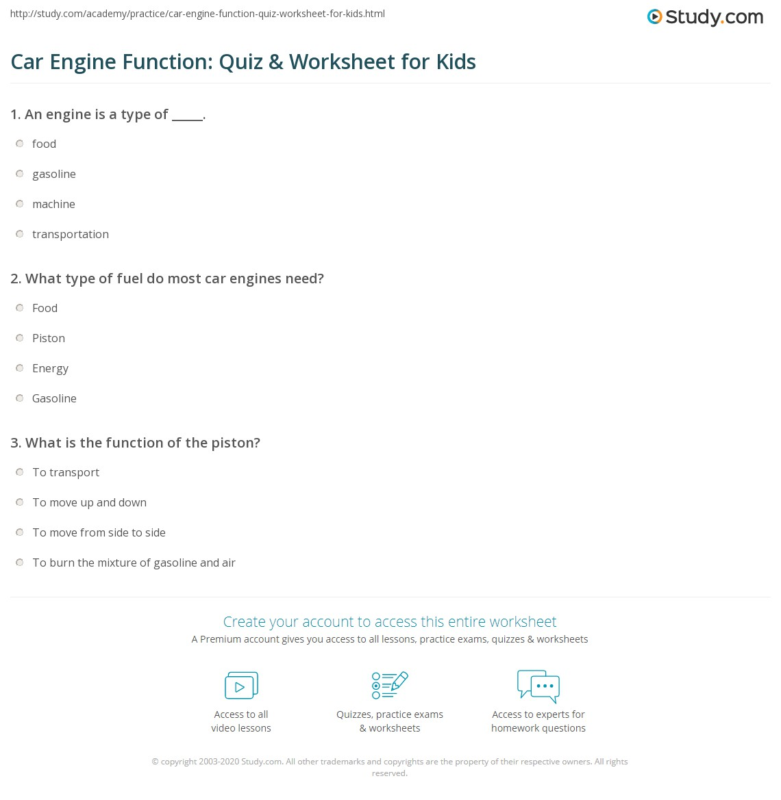 Car Engine Function Quiz Amp Worksheet For Kids