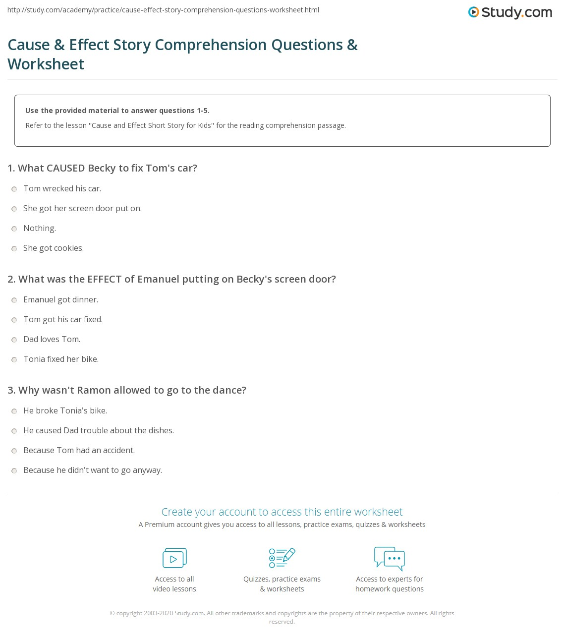 Cause Amp Effect Story Comprehension Questions Amp Worksheet