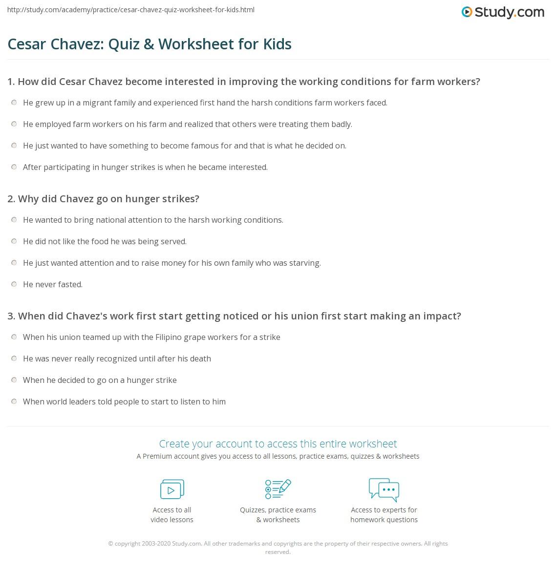 Cesar Chavez Quiz Amp Worksheet For Kids