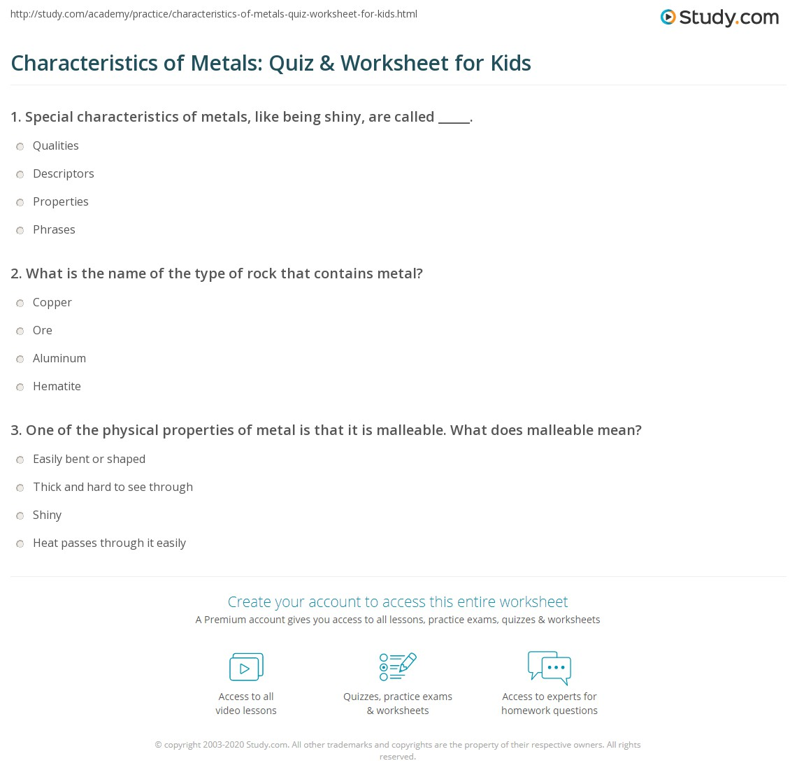 Characteristics Of Metals Quiz Amp Worksheet For Kids