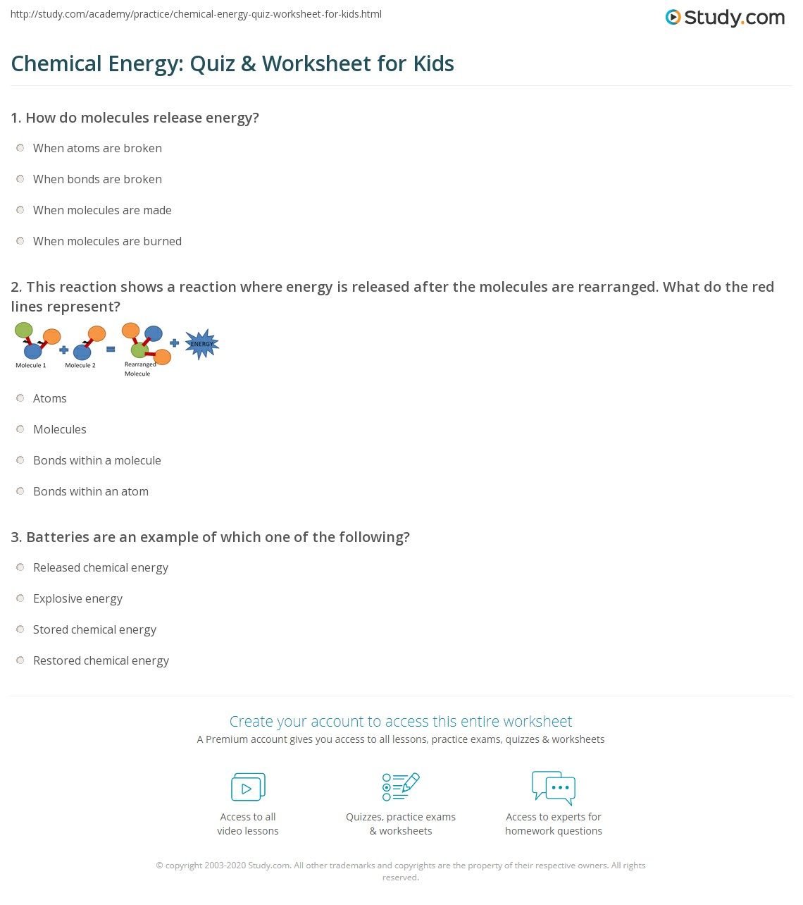 Chemical Energy Quiz Amp Worksheet For Kids