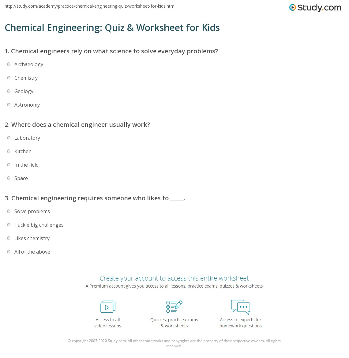 Chemical Engineering Quiz Amp Worksheet For Kids