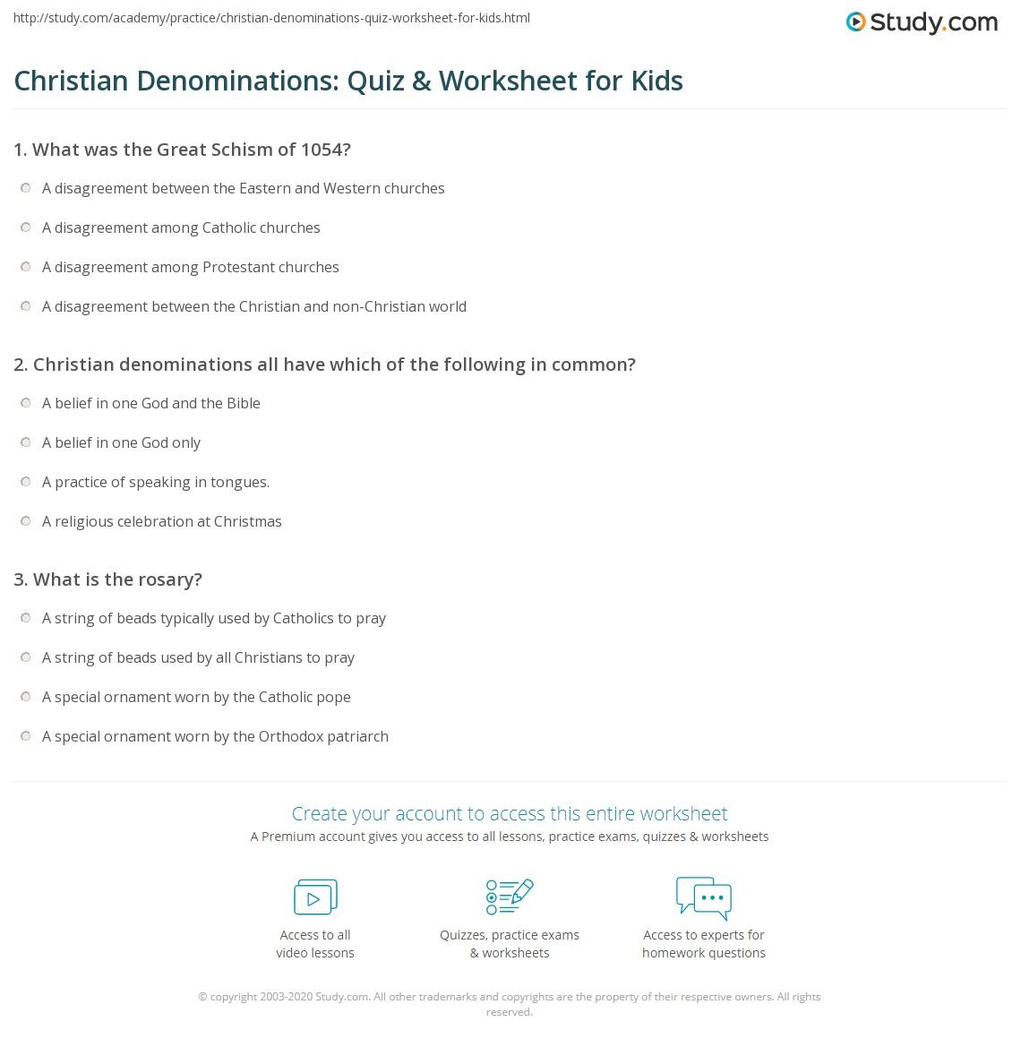 Christian Denominations Quiz Amp Worksheet For Kids