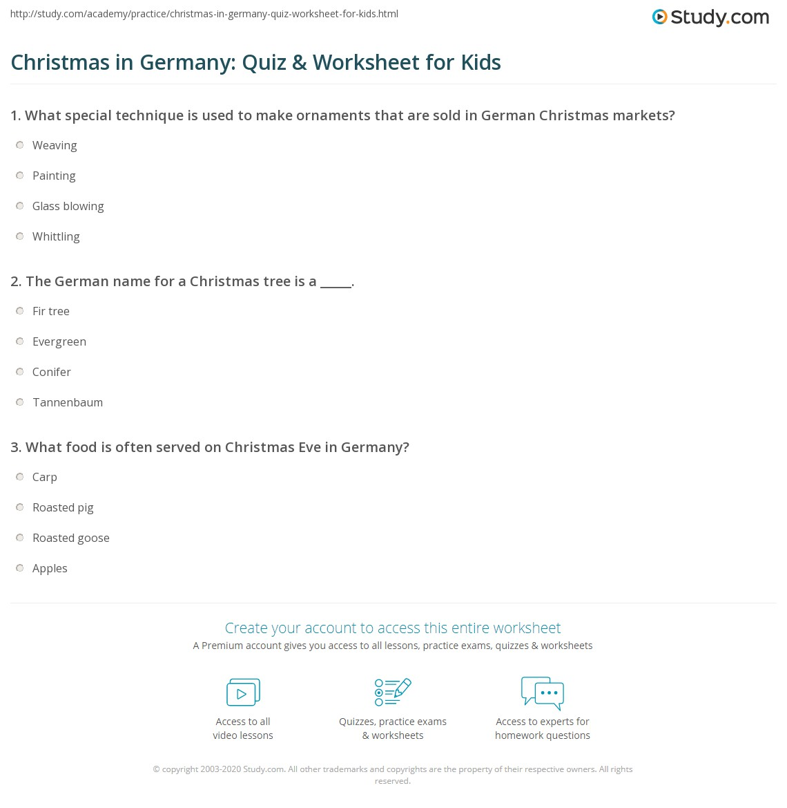 Christmas In Germany Quiz Amp Worksheet For Kids