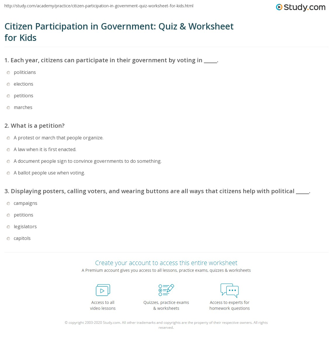 Citizen Participation In Government Quiz Amp Worksheet For