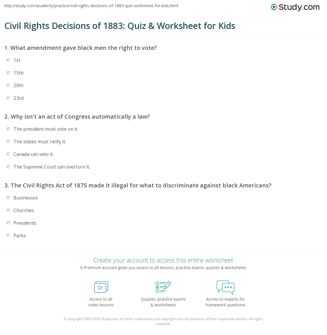 Civil Rights Decisions Of Quiz Amp Worksheet For Kids