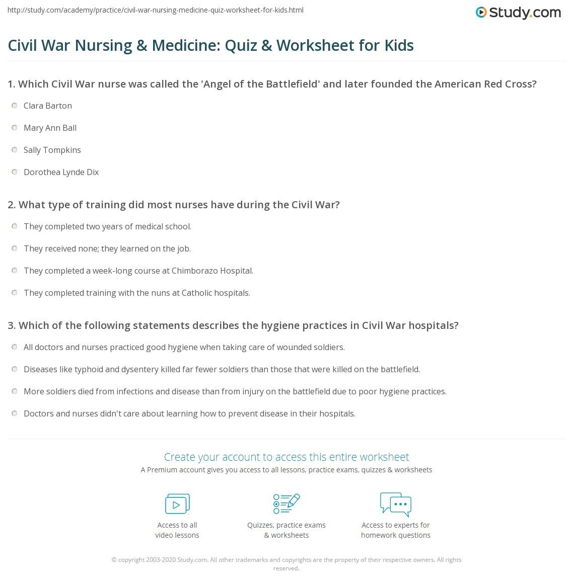 Civil War Nursing Amp Medicine Quiz Amp Worksheet For Kids