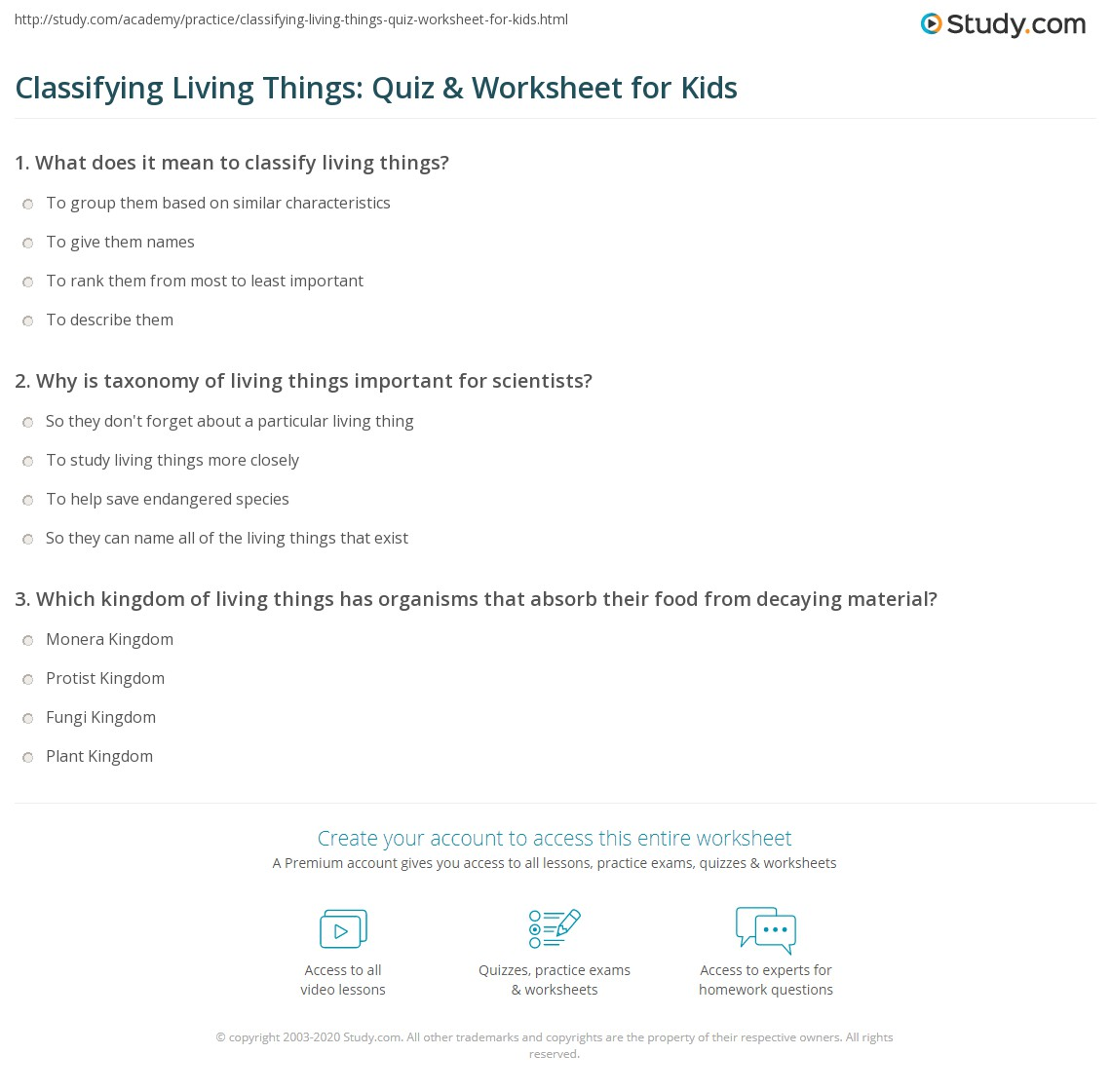 Classifying Living Things Quiz Amp Worksheet For Kids