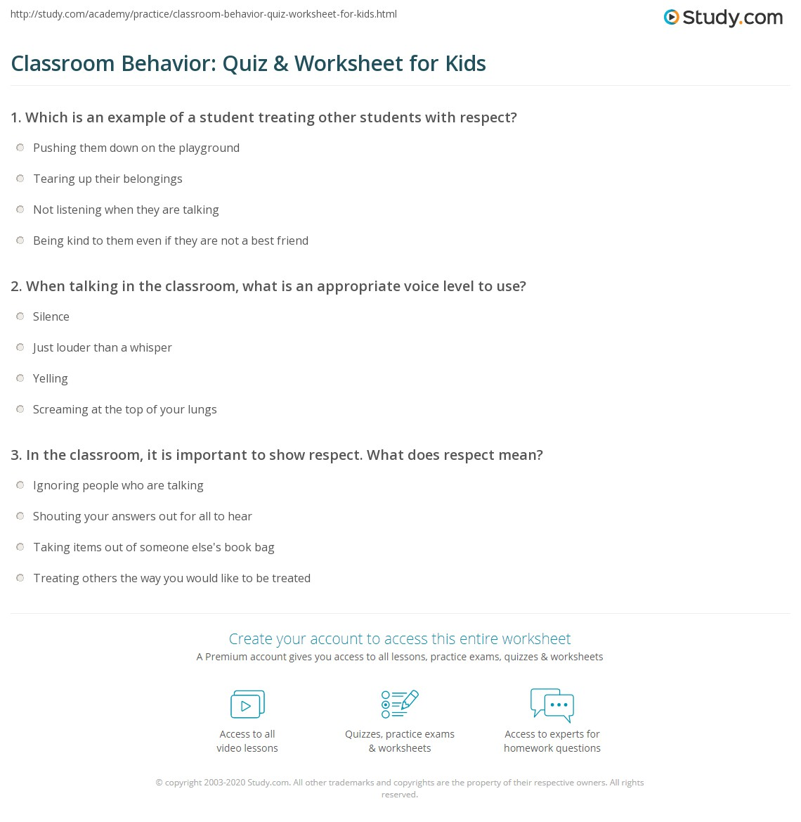 Classroom Behavior Quiz Amp Worksheet For Kids