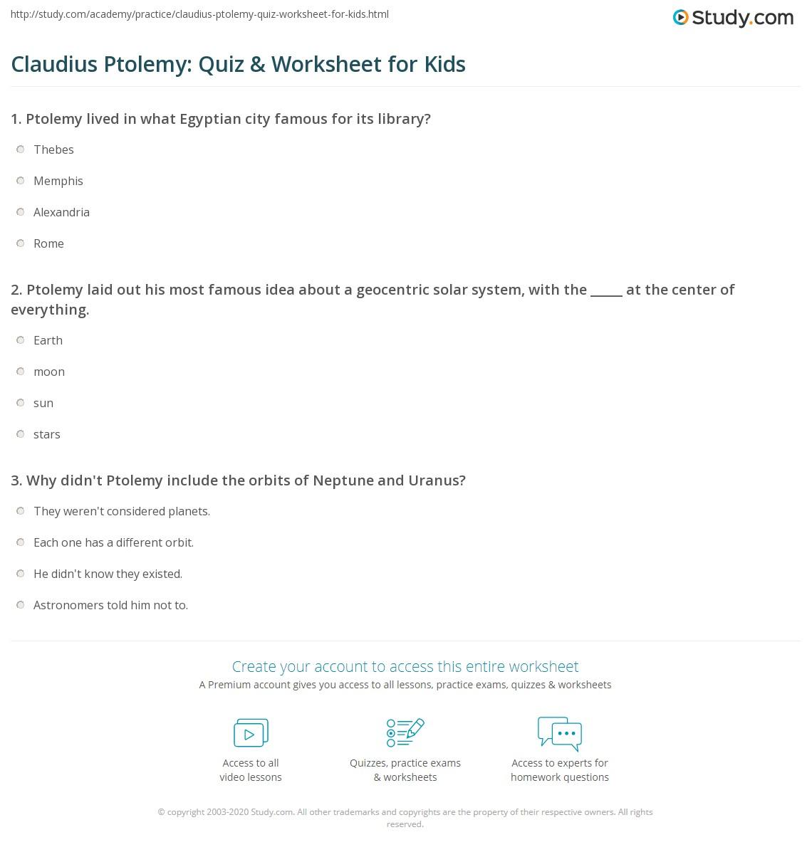 Claudius Ptolemy Quiz Amp Worksheet For Kids