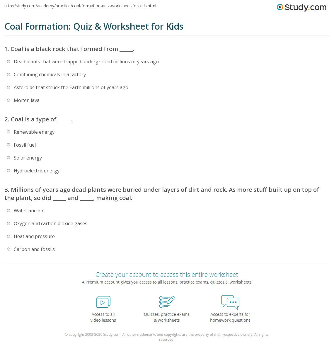 Coal Formation Quiz Amp Worksheet For Kids