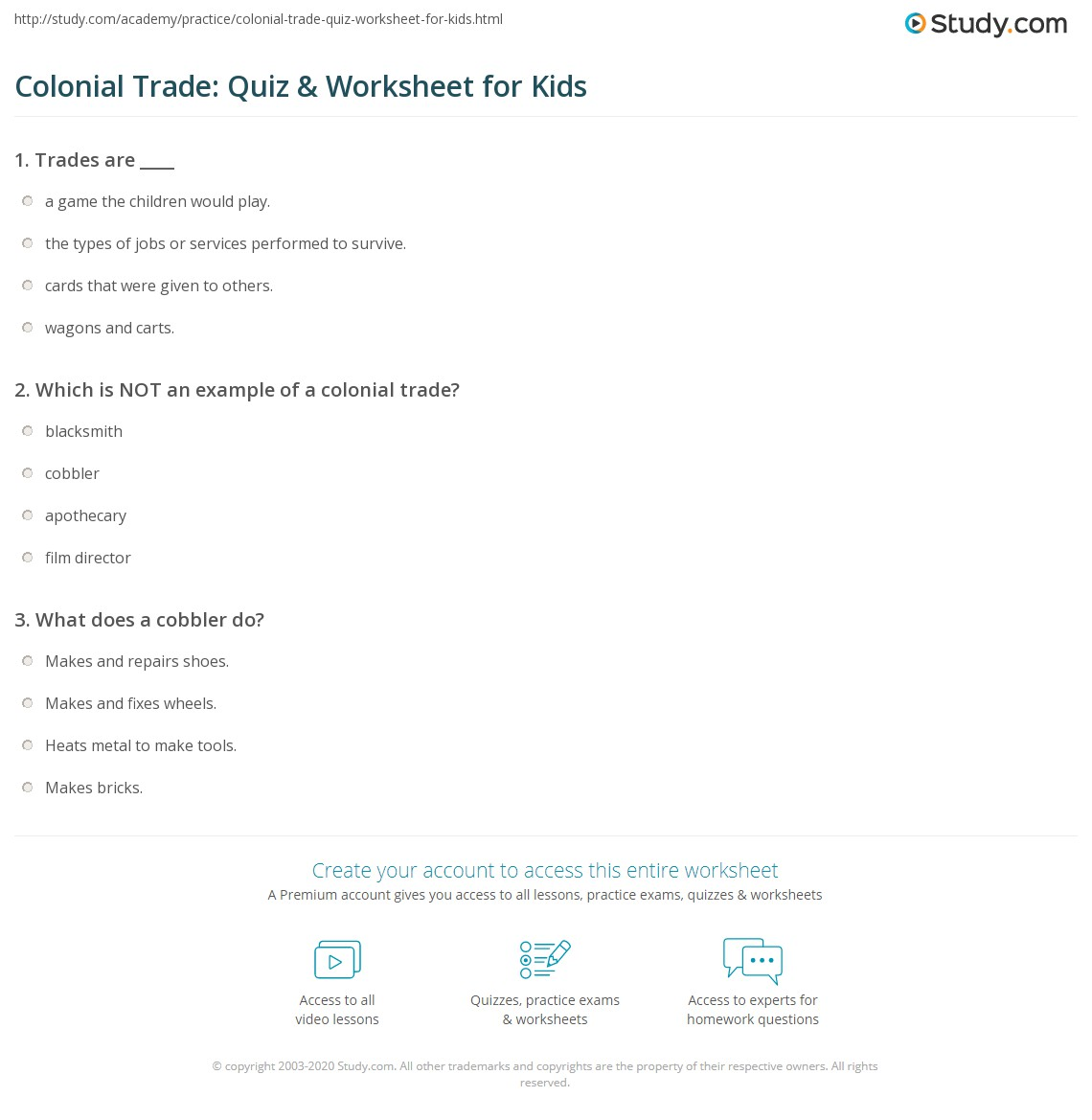 Colonial Trade Quiz Amp Worksheet For Kids