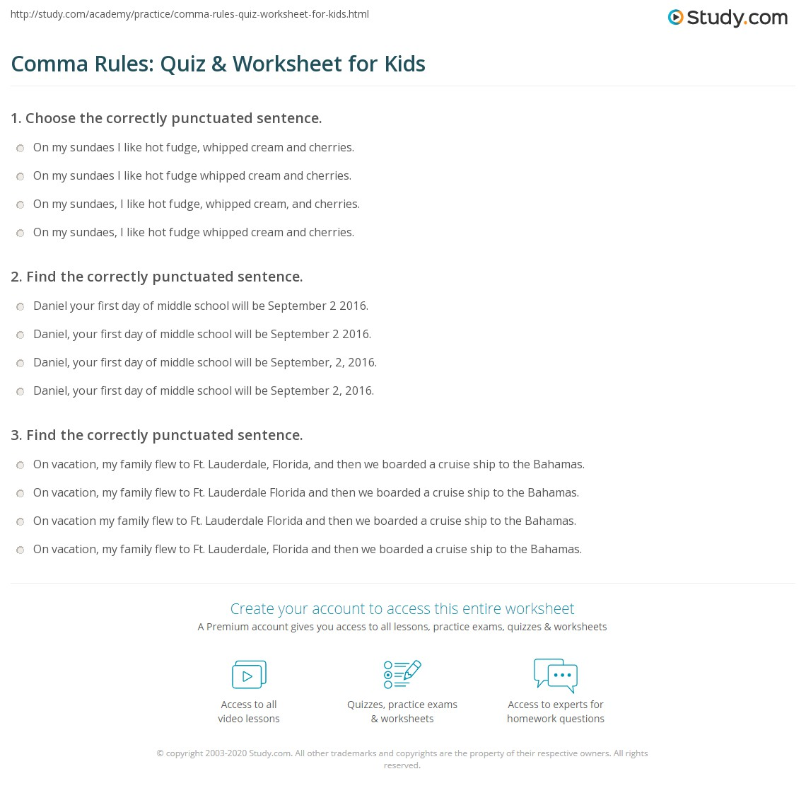 Comma Rules Quiz Amp Worksheet For Kids