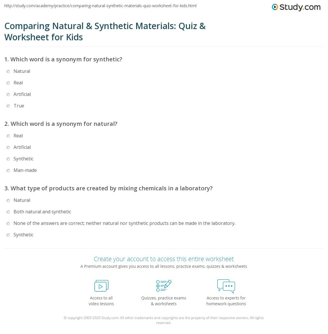 Comparing Natural Amp Synthetic Materials Quiz Amp Worksheet For Kids