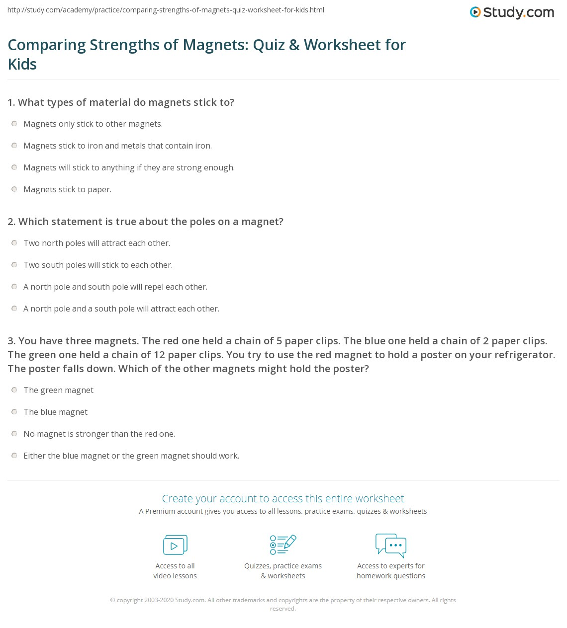 Comparing Strengths Of Magnets Quiz Amp Worksheet For Kids