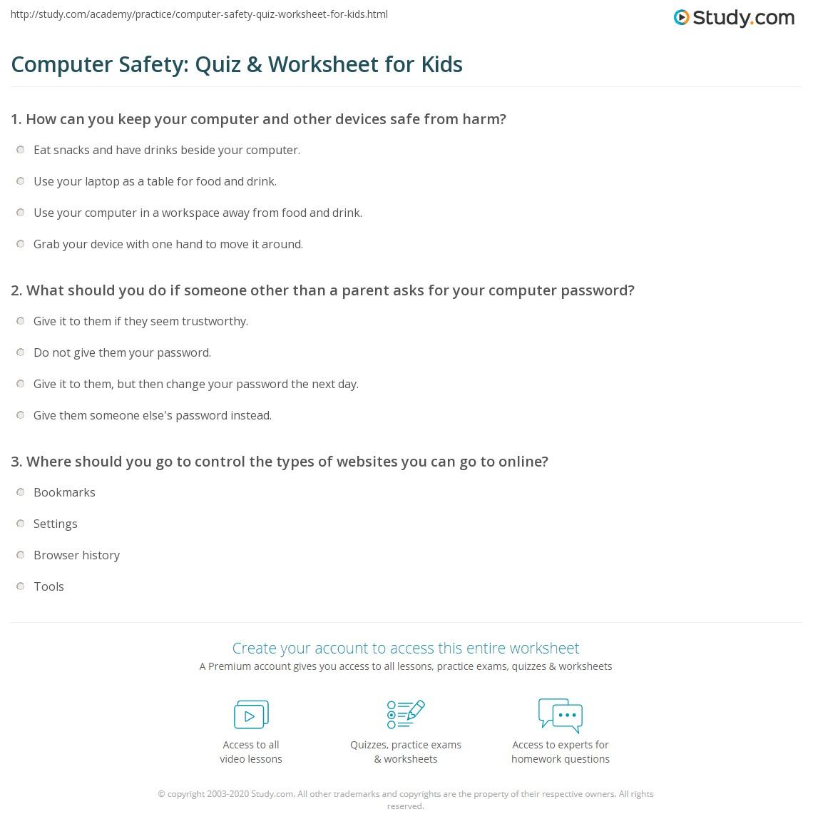 Computer Safety Quiz Amp Worksheet For Kids