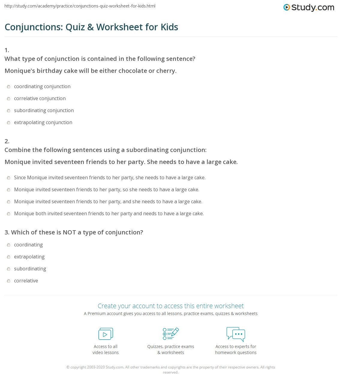 Conjunctions Quiz Amp Worksheet For Kids